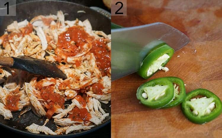 Two photos showing shredded chicken getting seasoned and peppers being sliced.