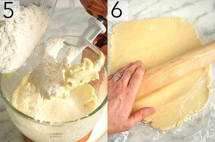 Two photos showing sugar cookie batter being finished and rolled out..