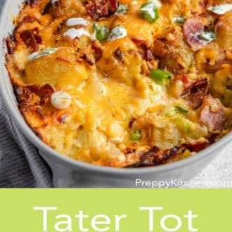 tater tot casserole in a white serving dish
