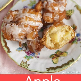 Apple fritters on a porcelain plate.