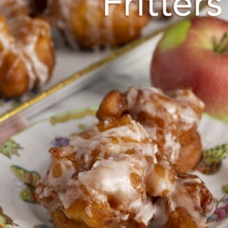 Apple fritters with glaze.
