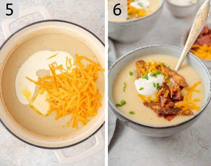 Two photos showing the final step for making potato soup