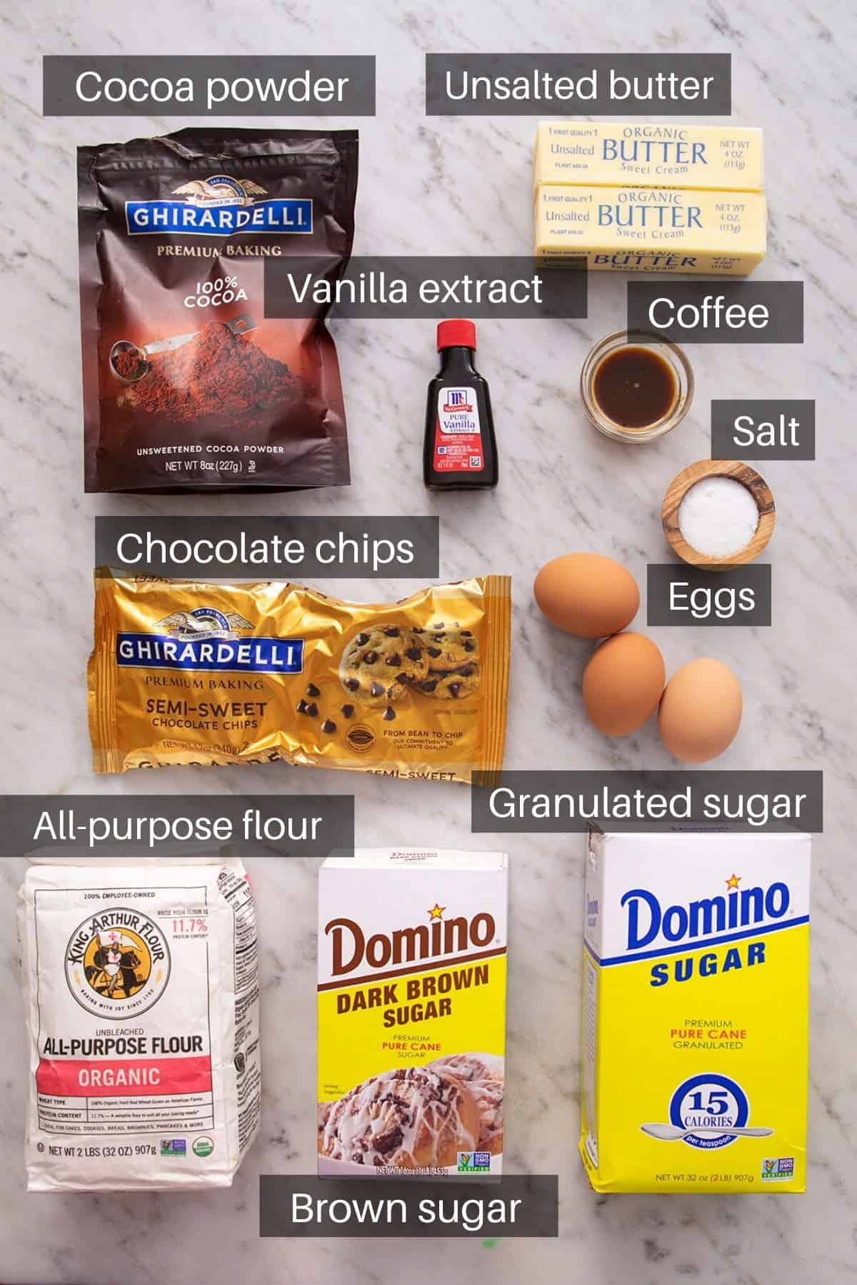 An overhead shot of all the ingredients you need to make brownies