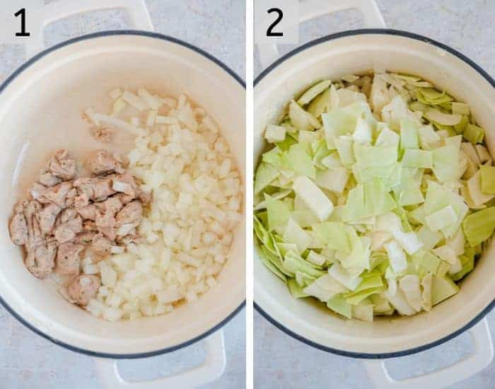 Two photos showing the first steps for making cabbage soup