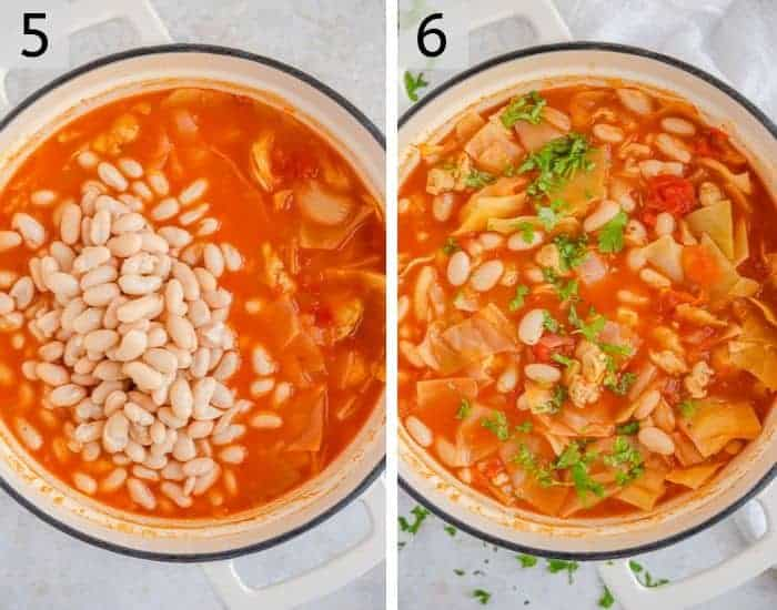 Two photos showing the final step of making cabbage soup