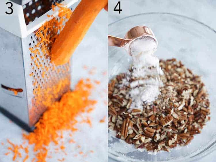 carrots beinig shredded and nuts tossed with pecans for carrot cake.jpg