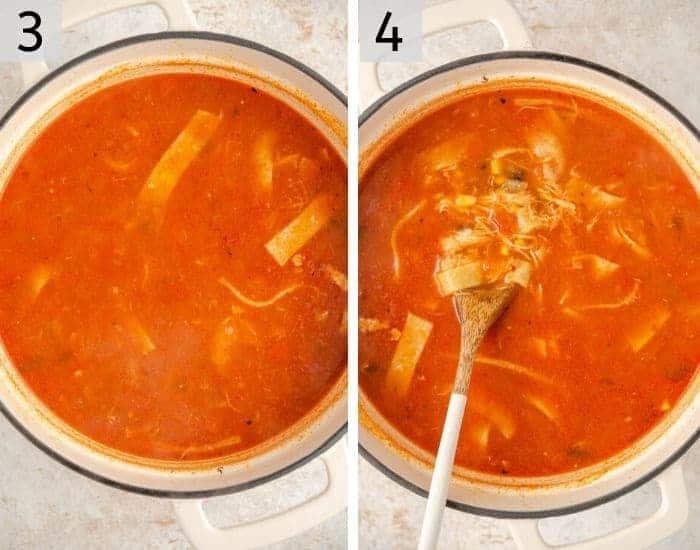 Two photos showing how to make chicken tortilla soup