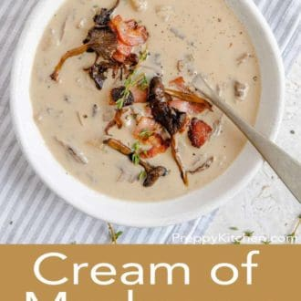 cream of mushroom soup in a white bowl