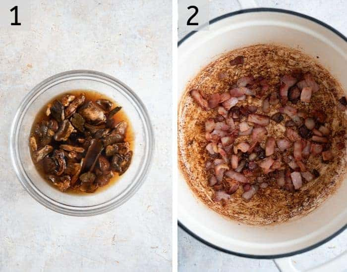 Two photos of soaking porcini mushrooms and frying bacon to make cream of mushroom soup
