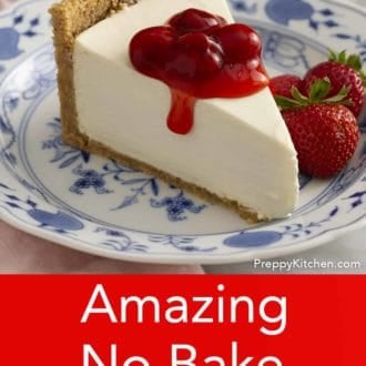 piece of no bake cheesecake on a plate