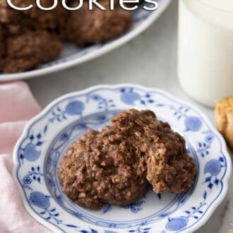 A pinterest graphic of no bake cookies