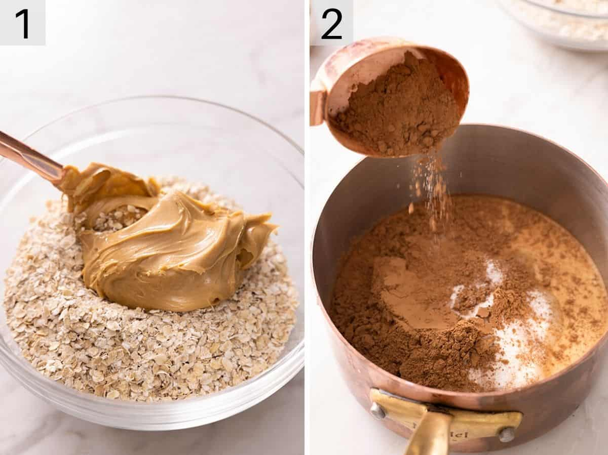 Two photos showing how to make no bake cookie dough