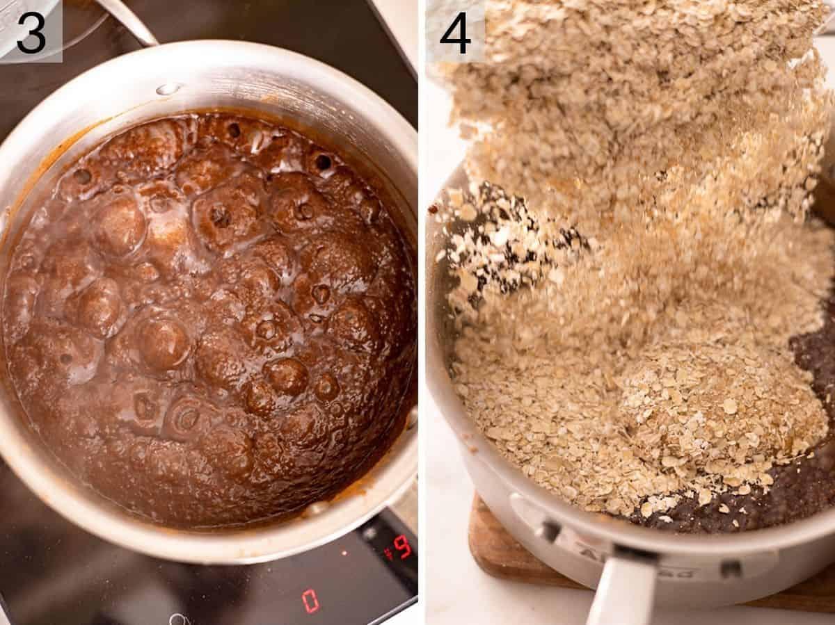 Two photos showing no bake cookie dough in a saucepan
