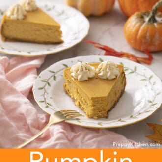 Two pieces of pumpkin cheesecake on plates.