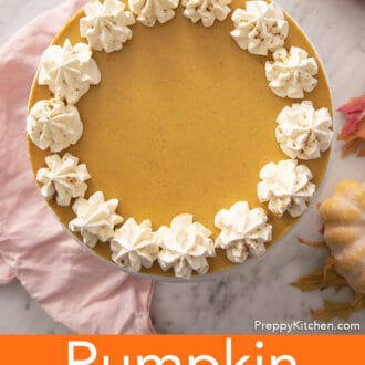 An orange colored pumpkin cheesecake.