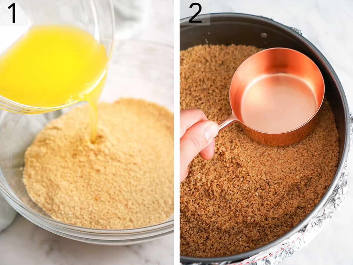 Two photos showing a graham cracker crust being made for a pumpkin cheesecake base.