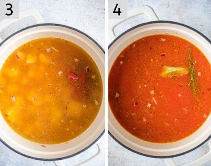 Two photos of adding tomatoes and stock to vegetable soup