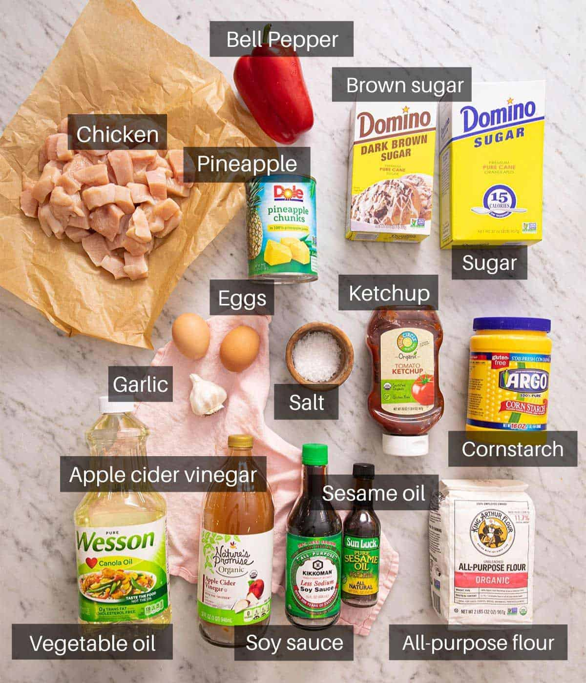 An overhead shot of all the ingredients you need to make sweet and sour chicken