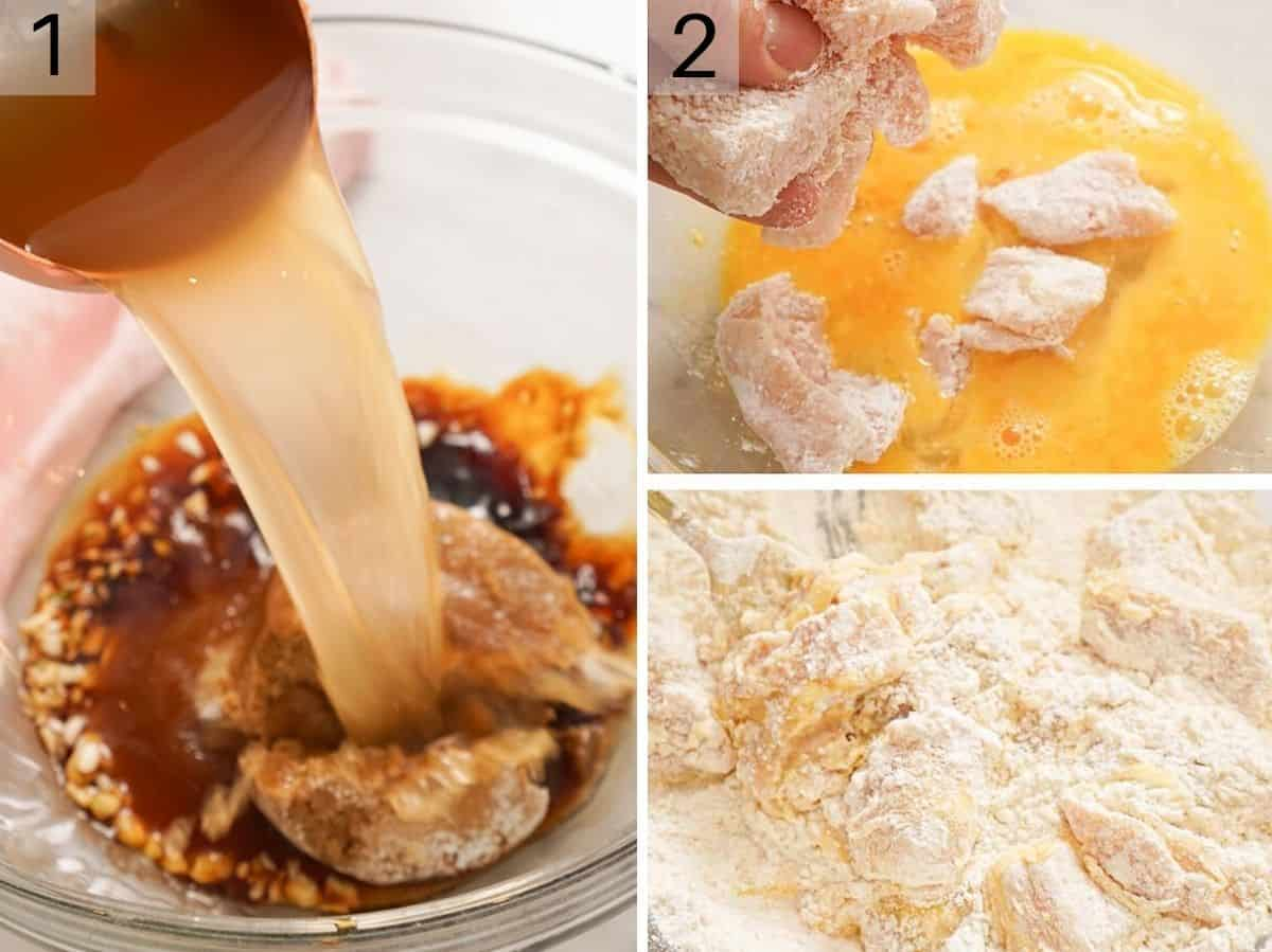 A collage of photos showing how to prepare a sauce and dredge chicken pieces in flour and egg