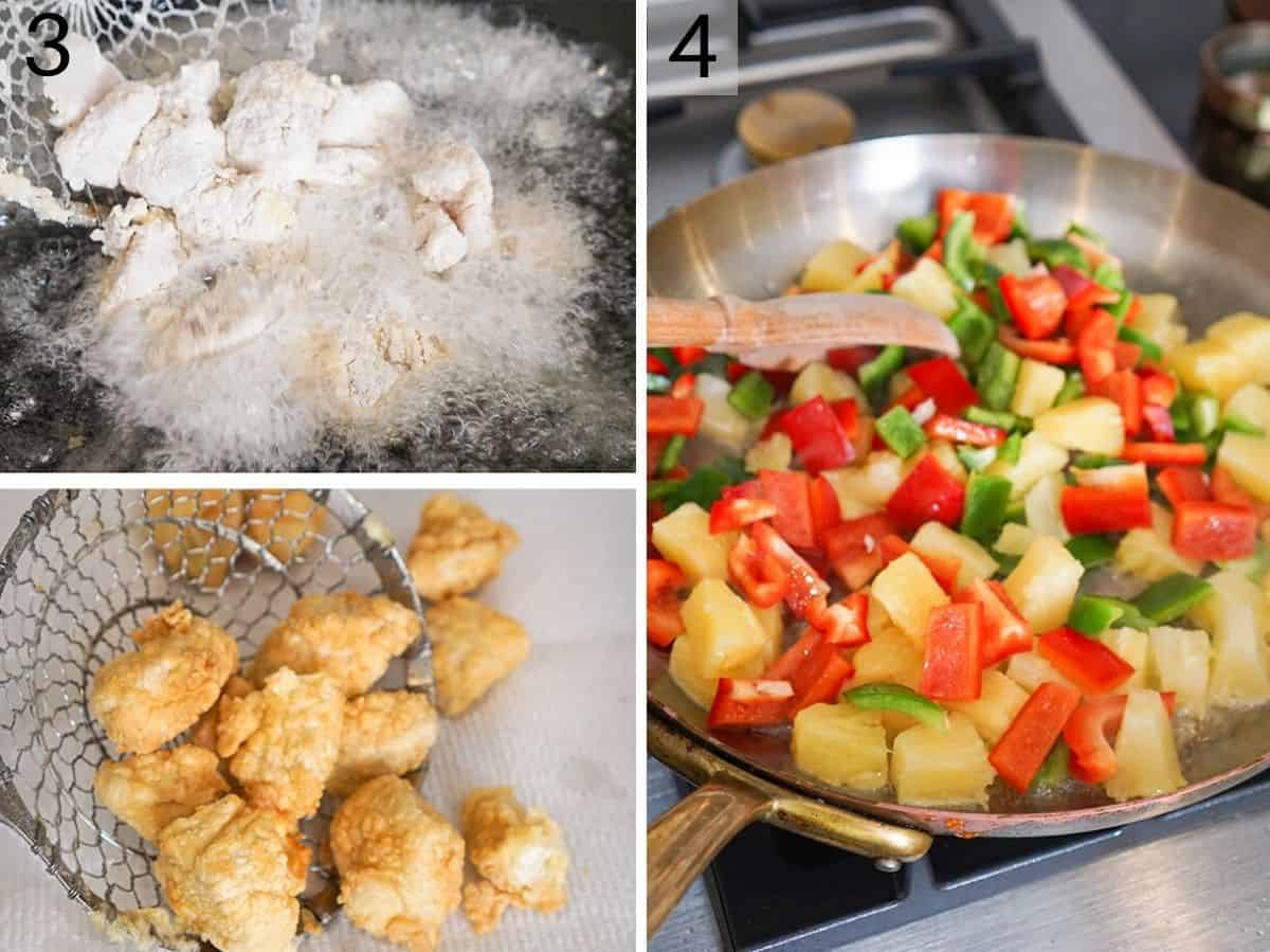 A collage of photos showing how to fry chicken and stir fry vegetables