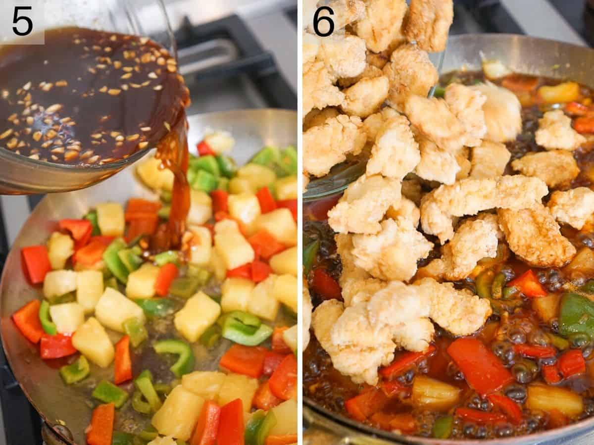 Two photos showing how to finish making sweet and sour chicken