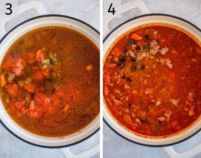 Step by step photos for making taco soup