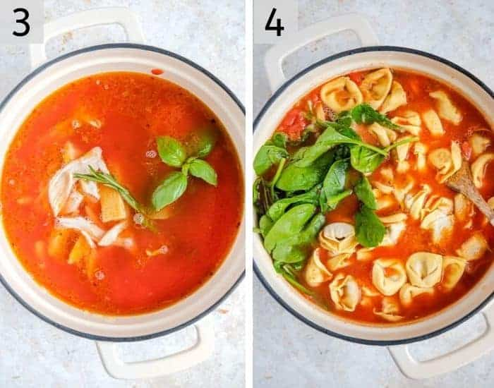 Step by step photos for making tortellini soup