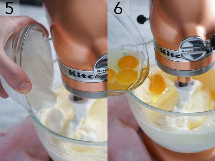 Sour cream and eggs getting added to a mixer with cream cheese to make cheesecake.