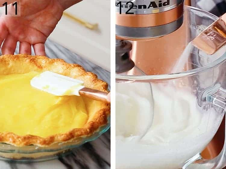 A lemon pie being filled and smoothed with a spatula.