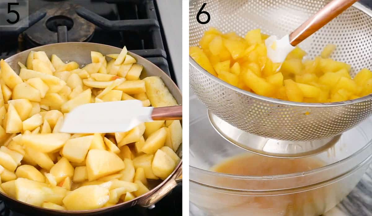 Pieces of apple in a pan getting cooked then drained.