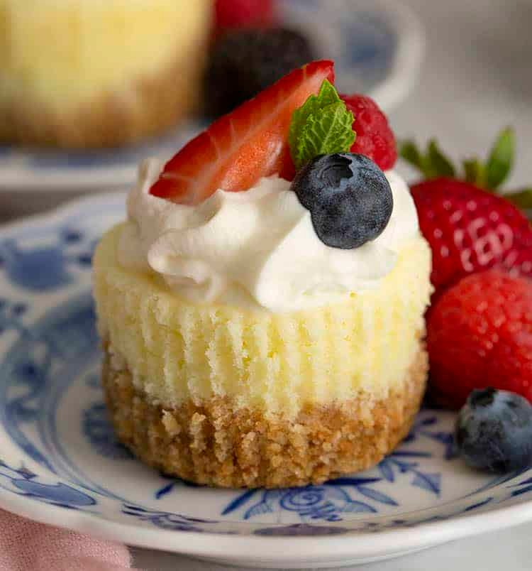 A mini cheesecake on a blue and white plate with berries.