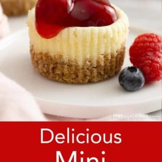mini cheesecake on a plate with berries