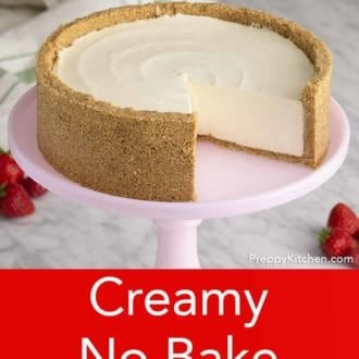 no bake cheesecake on a cake stand