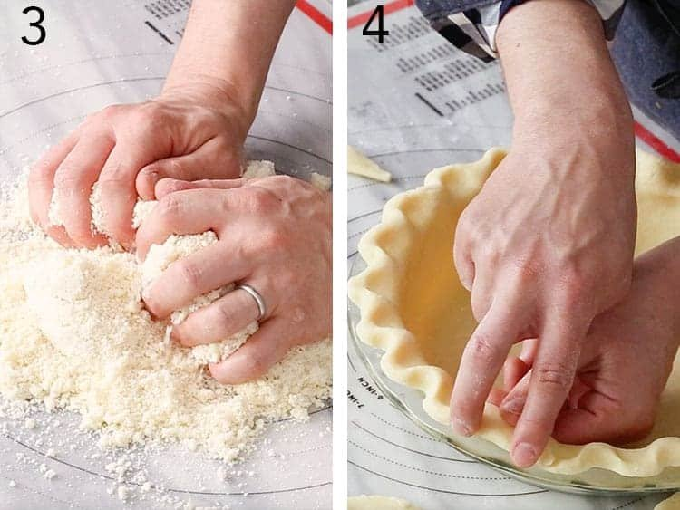 Pie dough being kneaded and pinched for a lemon pie.