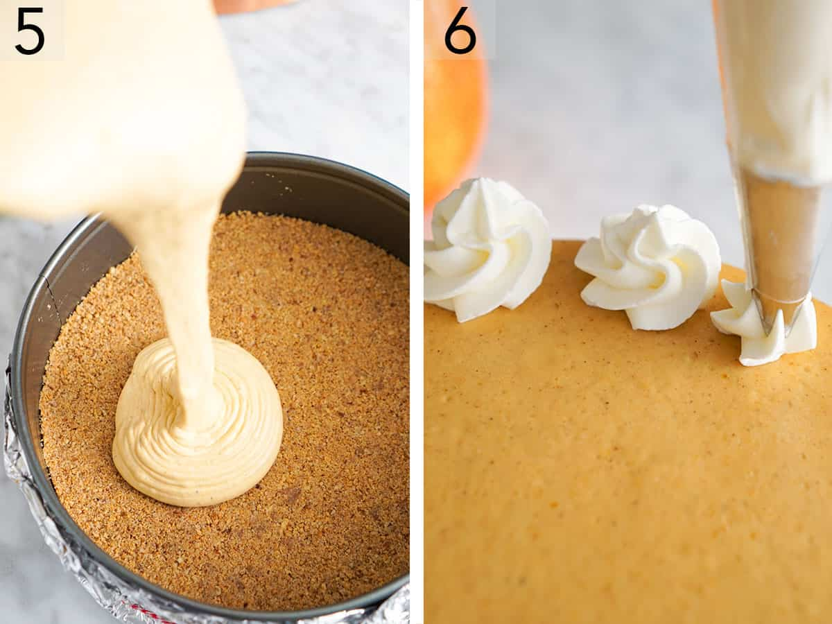 pumpkin cheesecake batter getting poured into a springform pan and then dollops of whipped cream being added