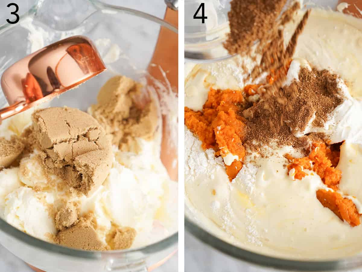 Brown sugar being added to cream cheese and then mixed until smooth when making pumpkin cheesecake filling.