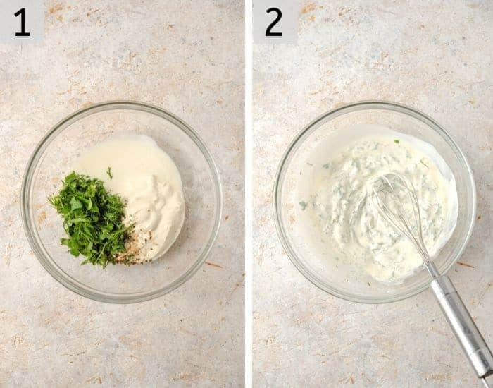 Two photos showing how to make homemade ranch for buffalo chicken dip