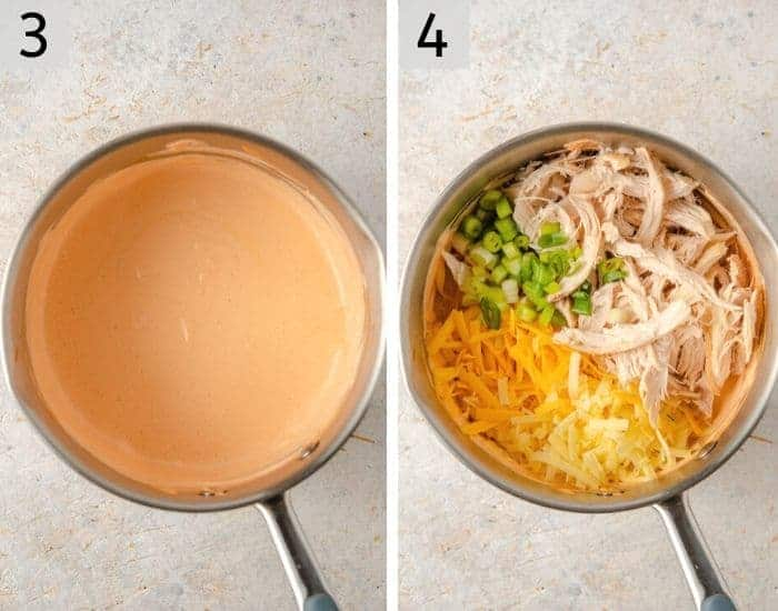 Two photos of a buffalo chicken dip getting mixed with shredded chicken and cheeses