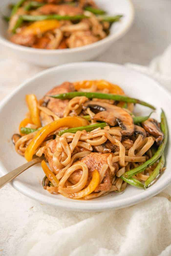A side shot of chicken lo mein in a bowl