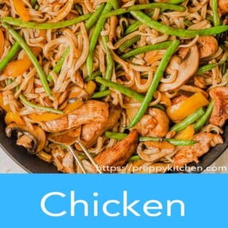 chicken lo mein in a pan