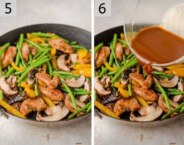 Two photos showing how to make chicken lo mein