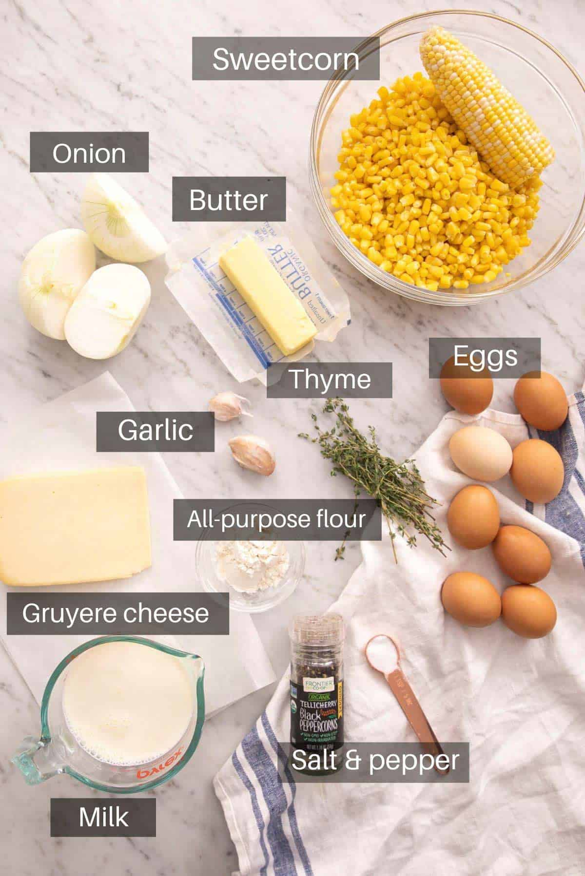 An overhead shot of all the ingredients you need to make a corn casserole