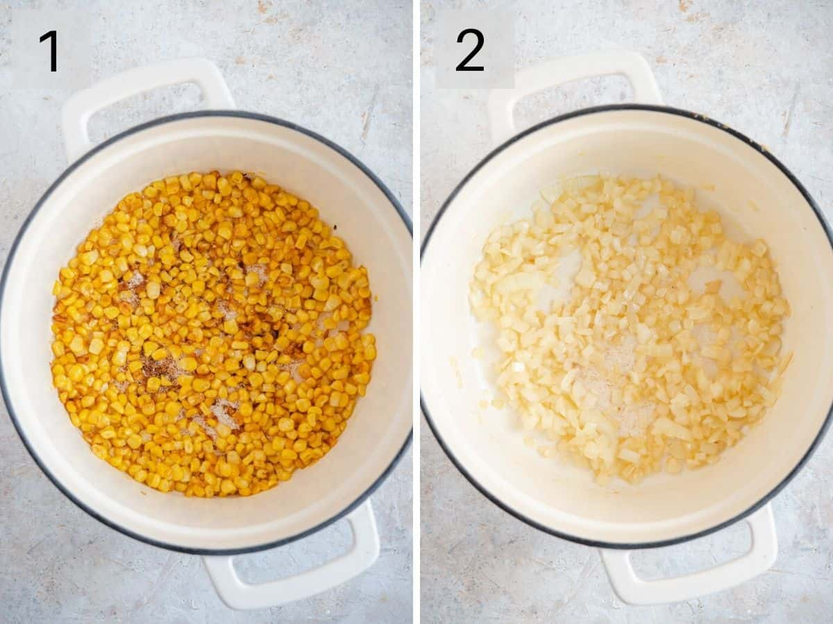Two photos showing how to saute corn and onions