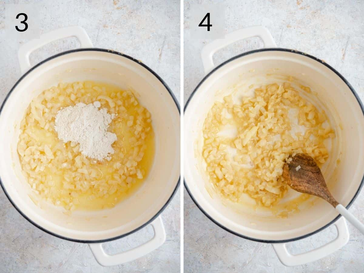 Two photos showing how to saute onions with flour