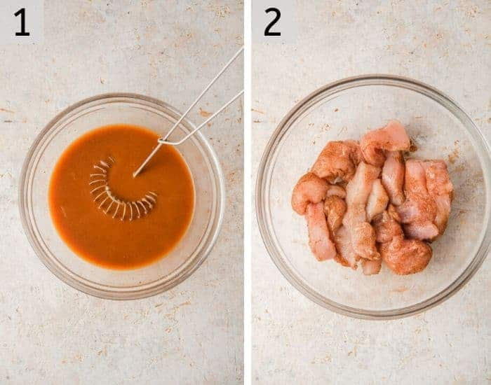 Two photos showing how to make General Tso's Chicken sauce