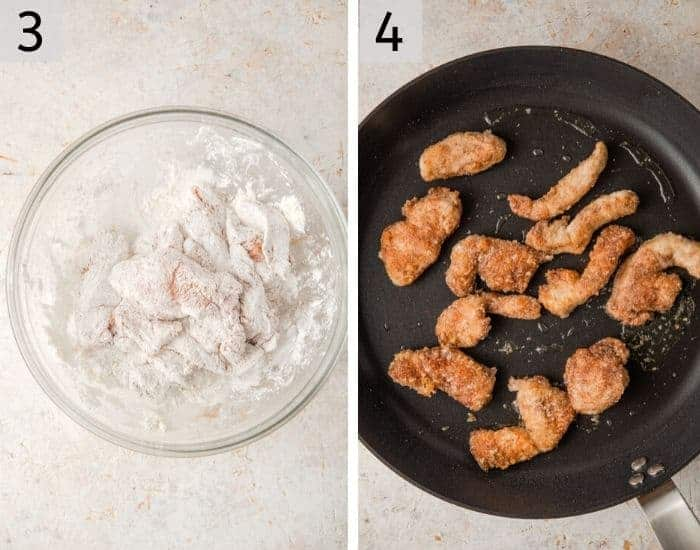 Two photos showing coating and frying chicken in batches