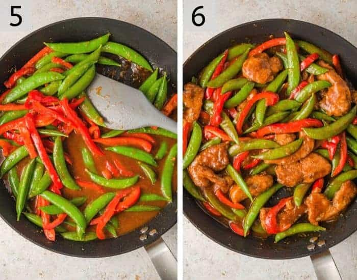 Two photos showing how to make General Tso's Chicken
