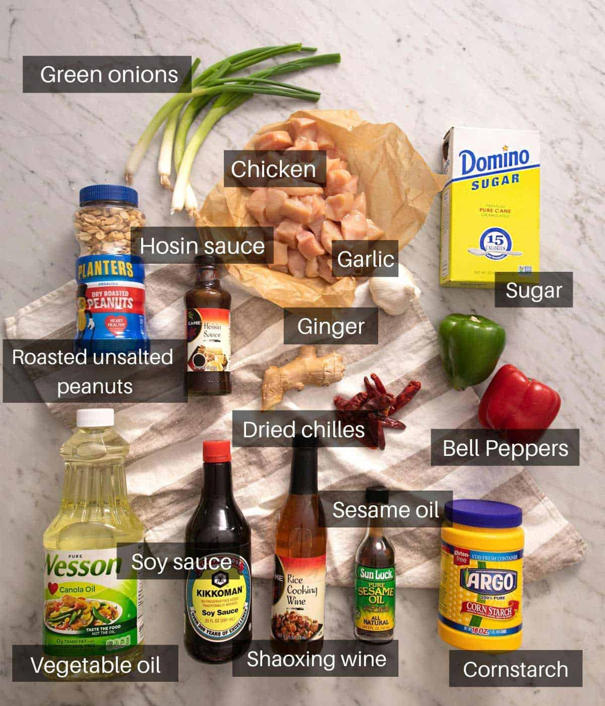 An overhead shot of all the ingredients you need to make Kung Pao chicken