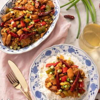 A pinterest graphic of kung pao chicken