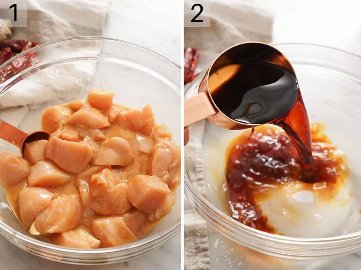 Two photos showing chopped up chicken and how to make a sauce for kung pao chicken